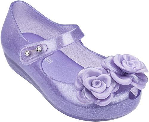 Melissa - Unisex-Child Mini Ultragirl Flower Bb Flats, Size: 7 M US Toddler, Color: Clear Glitter Lilac
