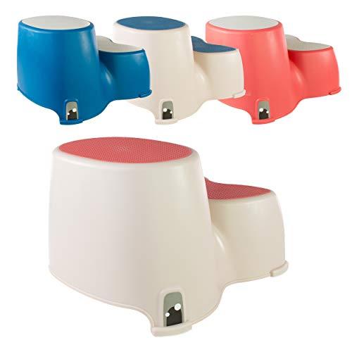 Taburete de inodoro – Escalones de inodoro para niños pequeños – The Friendly Whale – Taburete de doble escalón para niños – Divertido baño entrenamiento de inodoro por Luvdbaby