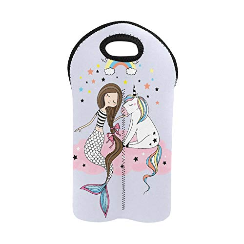 Bolsa de neopreno para vino Pequeño unicornio y sirena sentados en la bolsa de transporte de vino de Pink Clo Portabotellas y bolsas de vino de doble botella Portabotellas de neopreno grueso