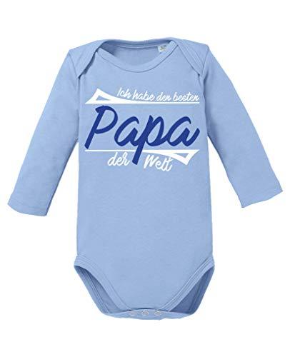 Comedy Shirts - Ich habe den besten Papa der Welt - Baby Langarm Body - Hellblau/Weiss-Royalblau Gr. 80