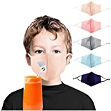 【Made in USA】5PCS Child Face Drinking 𝐌àsck, Washable and Reusable Breathable Cotton Hole for Straw Hole for Summer Outdoor Daily Use