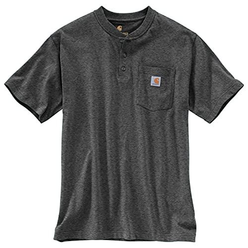 Carhartt Men's Workwear Pocket Short Sleeve Henley Midweight Jersey Original Fit, Carbon Heather, 2X-Large