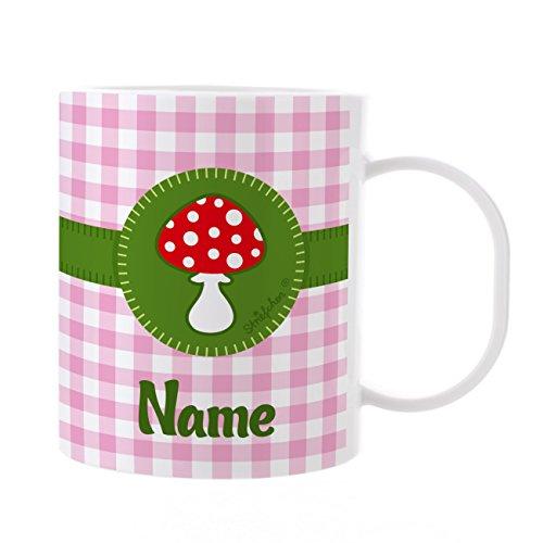 Striefchen® Kinder Tasse aus Kunststoff mit Wunschame - Motiv: Glückspilz