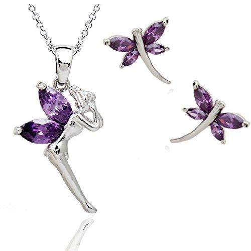 Hada Tinkerbell Violeta Cristales austríacos de Zirconia Juego de Joyas Collar con Colgante 45 cm Pendientes 18k Chapado en Oro Blanco