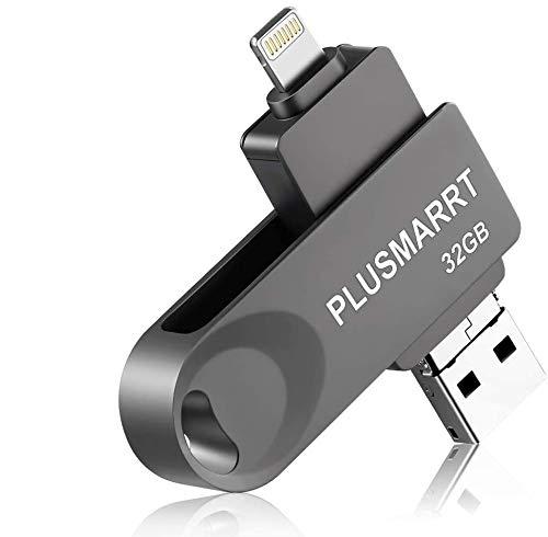 PLUSMARRT USB Stick für iPhone, USB Stick 32G USB Speicher Speichererweiterung für iPhone, Mac, Computer, Laptop, Grau