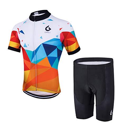 Gwell - Conjunto de culote y maillot de manga corta para hombre, con badana, equipación para ciclismo, Todo el año, Hombre, color Naranja-1., tamaño XL