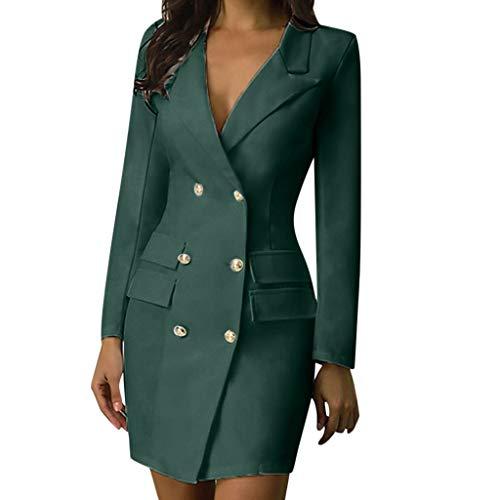 ღLILICATღ Elegante Vestido Cruzado De Las Mujeres Blazer Dress Office Slim para Mujer Vestidos OL Sólido Cuello En V Vestido Ajustado De Manga Larga para Mujer