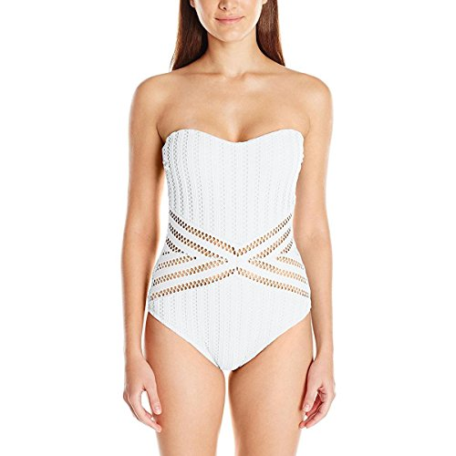 Kenneth Cole New York Women's Bandeau One Piece Swimsuit, White // Crochet, Small