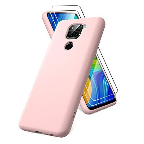 Oududianzi Funda para Xiaomi Redmi Note 9, Protector Pantalla Cristal Templado, Carcasa de Silicona Líquida Gel Ultra Suave Funda con tapete de Microfibra Anti-Rasguño - Rosa