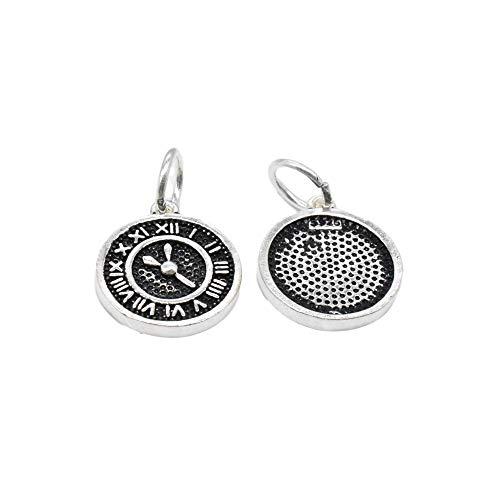 2 encantos del reloj de plata esterlina, colgantes del reloj, encantos del reloj de plata 925 para el collar de la pulsera