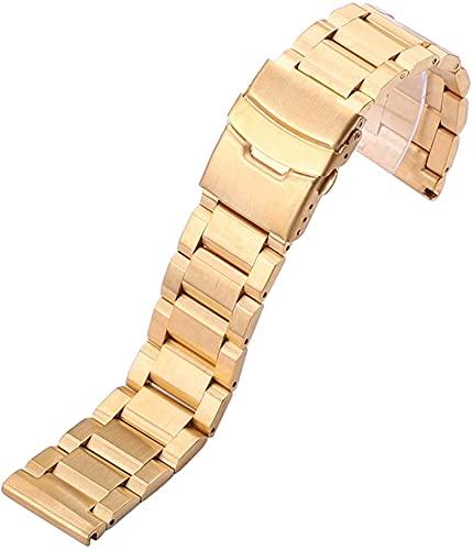 chenghuax Reloj Correa, Acero Inoxidable Pulsera de Banda de Reloj de 18 mm 20 mm 22 mm 24 mm Hombres Metal Reloj Cepillado Correa de Banda Reemplazar Accesorios Pulsera (Color : 24mm, Size : Gold)