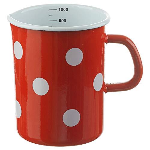 matches21 Email Messbecher/Milchtopf Topf mit Innen Skala Retro Emaille Geschirr rot weiß gepunktet Ø 10 x 14 cm / 1000 ml
