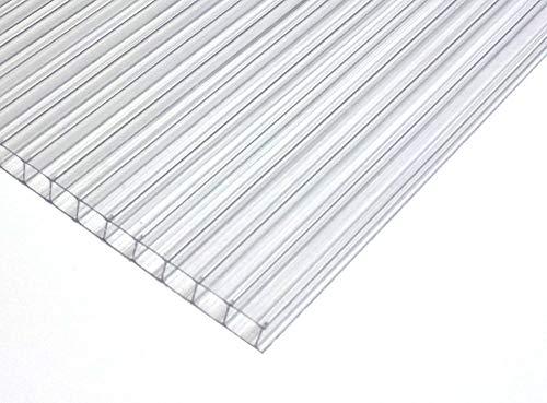 Polycarbonat Dachplatte Stegplatte Dick: 6 mm Farbe: KLAR, Größe 730 mm x 1142 mm. für Terrasse | Carport. Gartenhaus