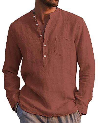AUDATE Camisa de algodón de lino para hombre, para otoño e invierno, de manga larga, corte regular, para tiempo libre rojo ladrillo XXXL