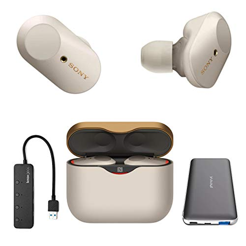 Sony WF-1000XM3 True Wireless Noise-Canceling Earbud Headphones (Silver, USA Warranty) with Ultra-Portable PD/QC Battery Pack and 4-Port USB 3.0 Hub (3 Items)