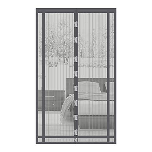 Sekey 230x160 cm Rideau magnétique anti-insectes idéal pour porte de balcon, porte cave, porte de terrasse (découpable en hauteur et largeur) grâce au montage facile à coller, Gris