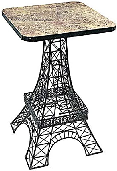 Design Toscano Tour Eiffel Sculptural Metal Side Table Black