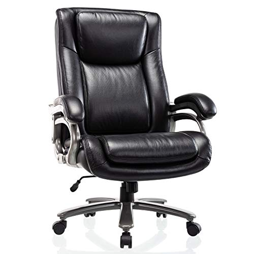400lb Big & Tall Office Chair - High Back Bonded Leather Executive Managerial Chair, Heavy Duty Metal Base Adjustable Height Thick Padded Seat Ergonomic Design Large Computer Swivel Task Desk Chair