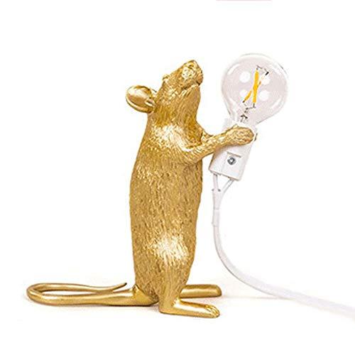 Yingying muislamp - staande/zitten/horizontale bureaulamp, mini hars-tafellamp wit/goud 1-3 lampen, diernachtlampje nachtkastje met push button schakelaar E14