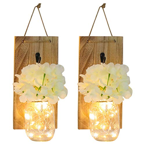 TheBigThumb Rustic Wall Sconces, Rustic Mason Jar Wall Sconces, LED Hanging Light Lamp with Remote Fairy Lights Wall Decor Living Room Sconces - 2 Packs