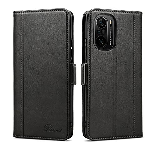Rssviss Xiaomi Poco F3/Mi 11i Hülle, Handyhülle für Poco F3 mit 3-Kartenfächer PU Leder Flip Hülle Mi 11i Magnetverschluss Standfunktion Schutzhülle für Xiaomi Poco F3/Mi 11i Tasche (6,67''), Schwarz