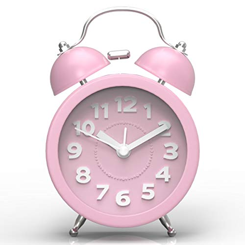 PILIFE klassischer Retro-Doppelglockenwecker mit Nachtlicht, 3 Zoll, Reisewecker, batteriebetrieben, runder Doppelglockenwecker mit super lautem Alarm, kein Ticken, geräuschlos (3D pink)