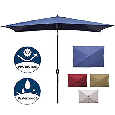 Blissun 10' Rectangular Patio Umbrella Outdoor Market Table Umbrella with Push Button Tilt and Crank (Navy Blue)