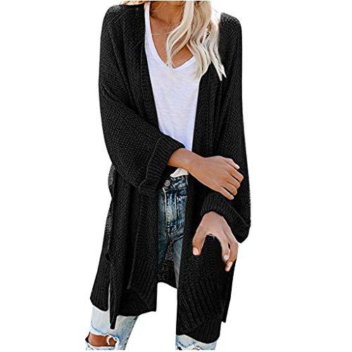 TWIFER Gilet Femme Tricot Manches Longues Cardigan Couleur Unie Poches Chandail Boutons Automne Hiver Pull Léger Chic Ample Asymétrique