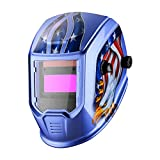 DEKOPRO Welding Helmet Auto Darkening Solar Powered Hood with Adjustable Shade Range 4/9-13 for TIG MIG ARC Welder Mask Welder Mask (Blue Eagle)