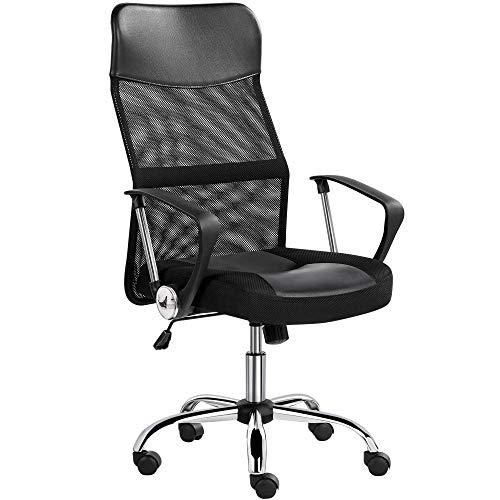 Yaheetech Bürostuhl, ergonomischer Schreibtischstuhl, atmungsaktiver Bürodrehstuhl, Computerstuhl mit hoher Netz-Rückenlehne, Office Chair Wippfunktion, Chefsessel Belastbar bis 135 kg