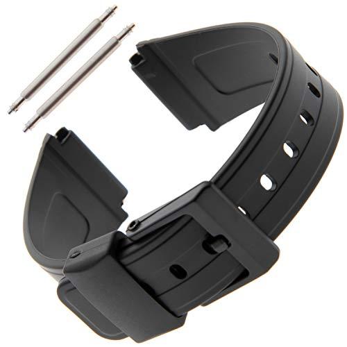 Gilden 19mm Black Polyurethane Sport Watch Strap 017360, fits Casio Databank watches