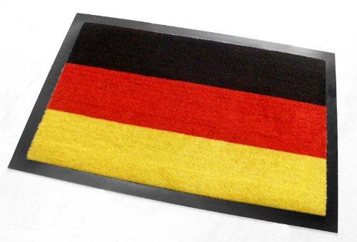 Felpudo, diseño de bandera de Alemania, aprox. 40 x 60 cm, color negro, rojo y dorado