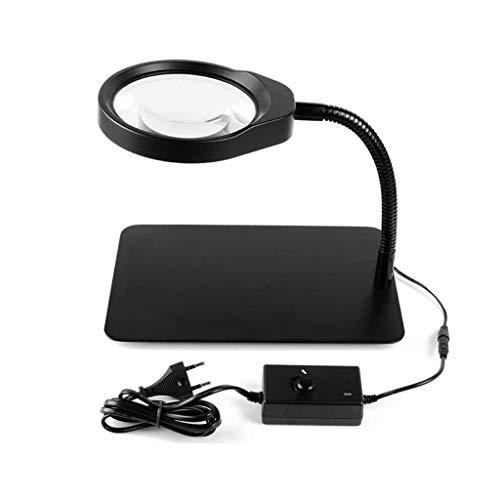 UOEIDOSB Escritorio lupa de escritorio, la luz LED de 10x USB Plug aprendizaje de los estudiantes de Ciencias de la lupa