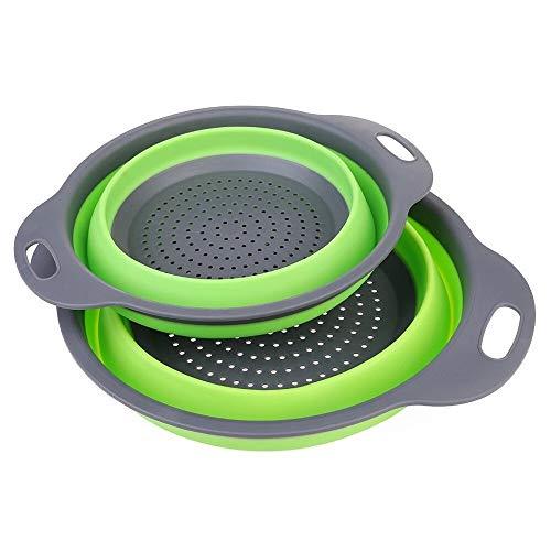 Colador de cocina Set de colador - 2 coladores coladores plegables-2 tamaños...