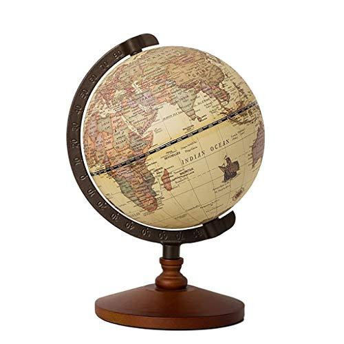 Antieke Globe 22 cm diameter met een Wood Base, Vintage decoratieve Politieke Desktop World - Rotating Volledige Aarde Aardrijkskunde Educatieve - for kinderen, volwassenen, School, Thuis, Kantoor