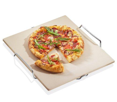 Küchenprofi Pizzastein 38x35,5cm mit Gestell, Cordierit, weiß/silber, 38 cm