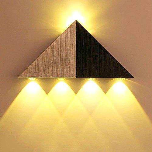 Lemonbest Modern Triangle 5W LED Wall Sconce Light Fixture Indoor Hallway Up Down Wall Lamp Spot Light Aluminum Decorative Lighting for Theater Studio Restaurant Hotel (Hardwired)