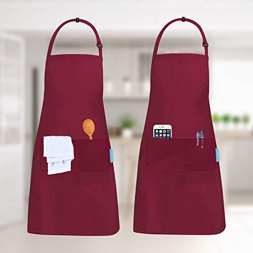 esafio 2 Piezas Delantales, Delantal de Trabajo Ajustables del Cocinero con 2 Bolsillo para Mujeres Hombres,Delantal Chefs...