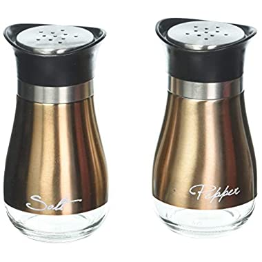 Circleware Cafe Contempo Copper and Glass Salt and Pepper Shakers, Set of 2, 4.42 ounce each