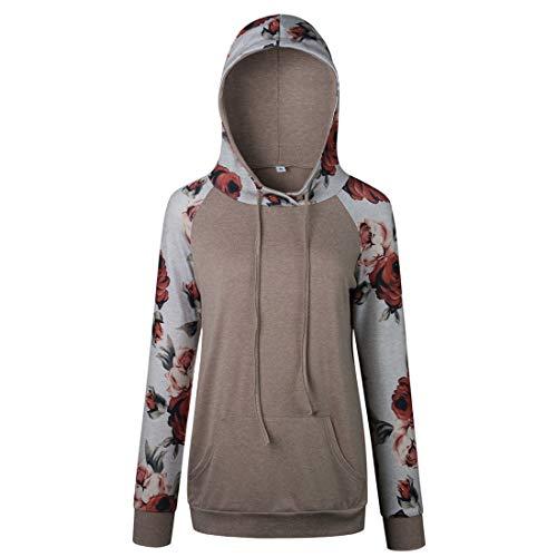 XLDD Kapuzenpullover Damen Hoodie Pullover Langarm Casual Sweatshirt Herbst Winter Hooded Sweatshirt Bequeme leichte Loose Tops Blumendruck Elegante T-Shirts Moderner Stil S