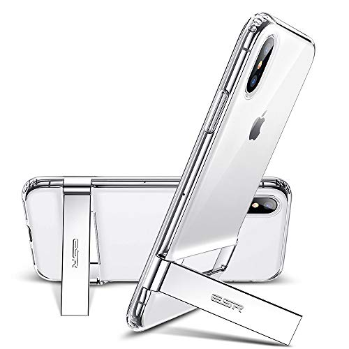 ESR Coque iPhone XS Max Transparente, Coque Silicone avec Support Béquille Métal Multi-Angles, Housse Etui de Protection Bumper [Anti Choc] pour Apple iPhone XS Max (Série Elite, Transparent)