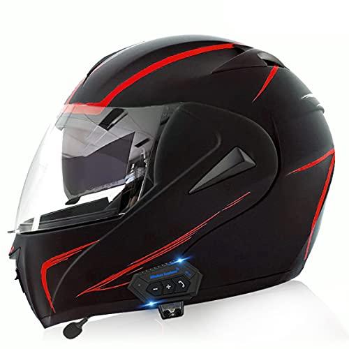 Casco de Moto Modular Bluetooth Integrado ECE/DOT Homologado con un Micrófono Incorporado Anti Niebla Visera Doble Adultos Hombres Mujeres Cascos Moto 5 ventilaciones(Size:M(57-58CM),Color:C)