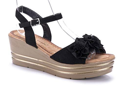Schuhtempel24 Damen Schuhe Keilsandaletten Sandalen Sandaletten schwarz Keilabsatz Glitzer/Blumenapplikation 7 cm