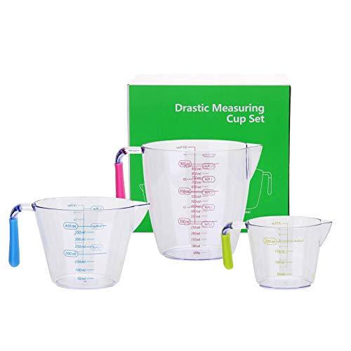 KATELUO 3Pcs Verre Mesureur Plastique, Tasses à Mesurer avec Poignée en Silicone 200/400/900ML, Verre Mesureur pour Cuisine et Laboratoire, Empilable, sans BPA
