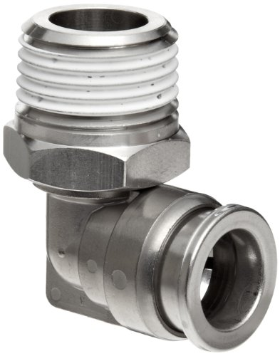 SMC KQG2 Series Stainless Steel 316 Push-to-Connect Tube Fitting, 90 Degree Elbow with Sealant, 1/4