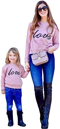 Mommy and Me Shirt Love Print Long Sleeve Round Neck Sweatshirt Tops Family Matching Clothes product image