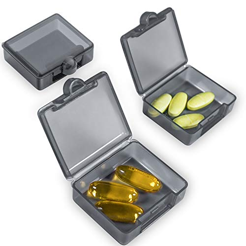 Pilulier 1 jour le matin le soir - Boîte à médicaments pratique - Petit format pour les déplacements - Se range dans n'importe quelle poche - Gris