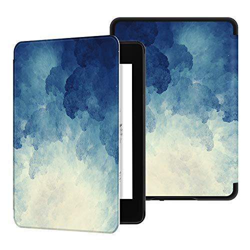 Ayotu Funda de Que Protege del Agua para Kindle Paperwhite (10.ª generación - Modelo de 2018)-Funda Inteligente de Cuero de PU con activación/suspensión automática K10 The Blue Moonlight