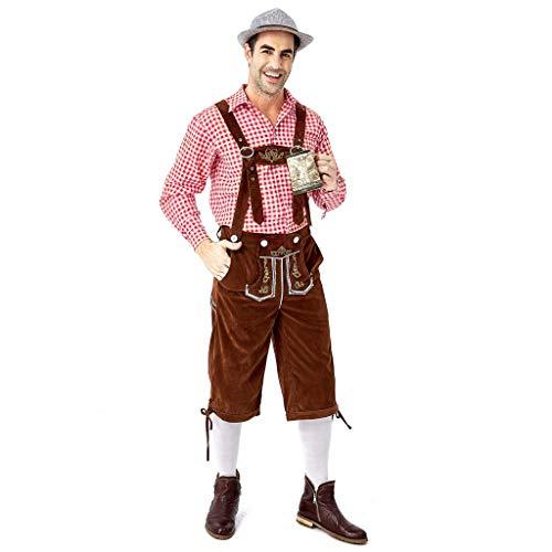 ZHANSANFM Oktoberfest Trachtenhemd Herren Set 2-teilig Bierfest Gitter Hemd + Trachten Dunkelbraun Wildveloursleder Bayerische karnevalskostüme Traditionelle Kostüme Vintage Elegant (XL, rot)