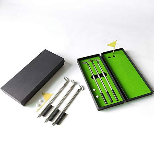 junengSO Simulierter Golfplatz Premium Mini Golf Putter Stift Set Office Geschenk Männer Kugelschreiber